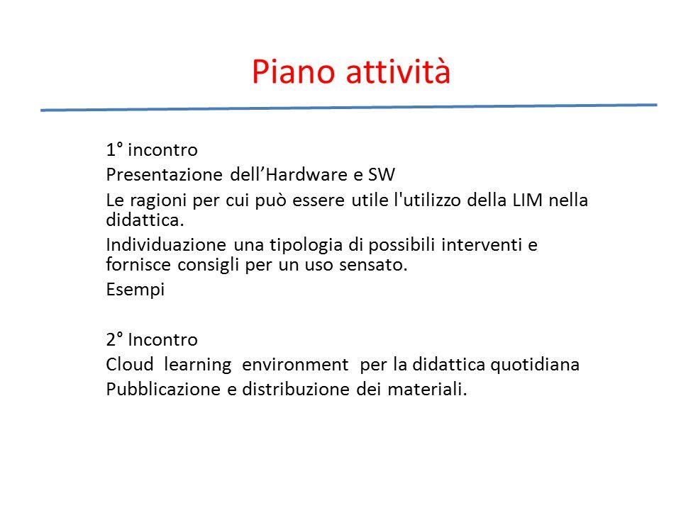 Piano attività 1° incontro Presentazione dell'Hardware e SW Le ragioni per cui può essere utile l'utilizzo della LIM nella didattica. Individuazione u