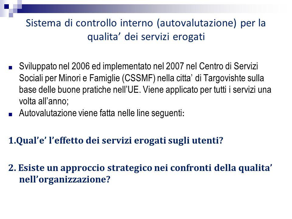 Sistema di controllo interno (autovalutazione) per la qualita' dei servizi erogati ■ Sviluppato nel 2006 ed implementato nel 2007 nel Centro di Serviz