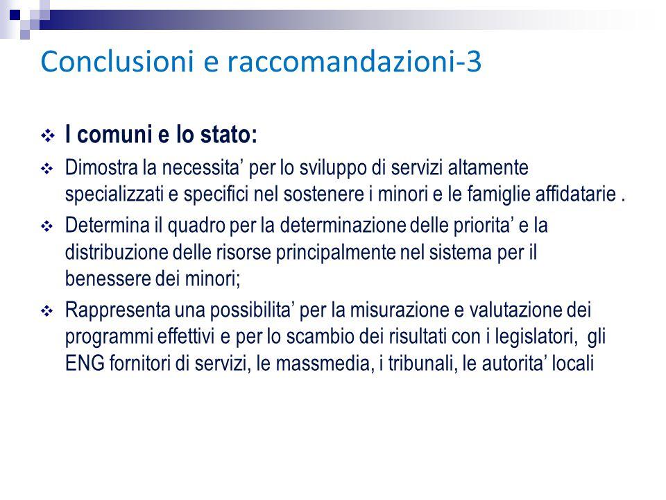 Conclusioni e raccomandazioni-3 ❖ I comuni e lo stato: ❖ Dimostra la necessita' per lo sviluppo di servizi altamente specializzati e specifici nel sos