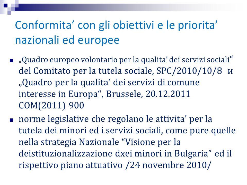 """Сonformita' con gli obiettivi e le priorita' nazionali ed europee ■ """"Quadro europeo volontario per la qualita' dei servizi sociali """" del Comitato per"""