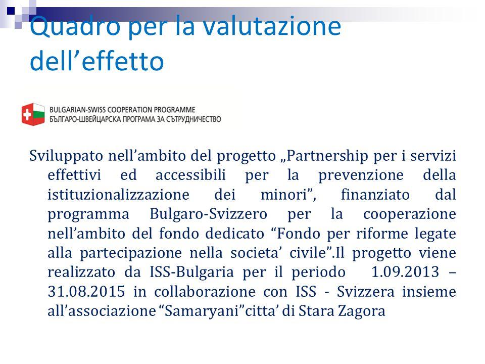 """Quadro per la valutazione dell'effetto Sviluppato nell'ambito del progetto """"Partnership per i servizi effettivi ed accessibili per la prevenzione dell"""