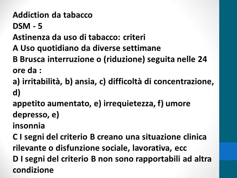 Il fumo di tabacco è la prima causa di morte facilmente evitabile (OMS) In Italia, fuma il 25,4% delle persone, con età superiore ai 14 anni, con una prevalenza del sesso maschile Il costo del fumo nella sanità pubblica è pari al 6.7% della spesa sanitaria totale E' responsabile ogni anno della morte di ottantamila persone in Italia