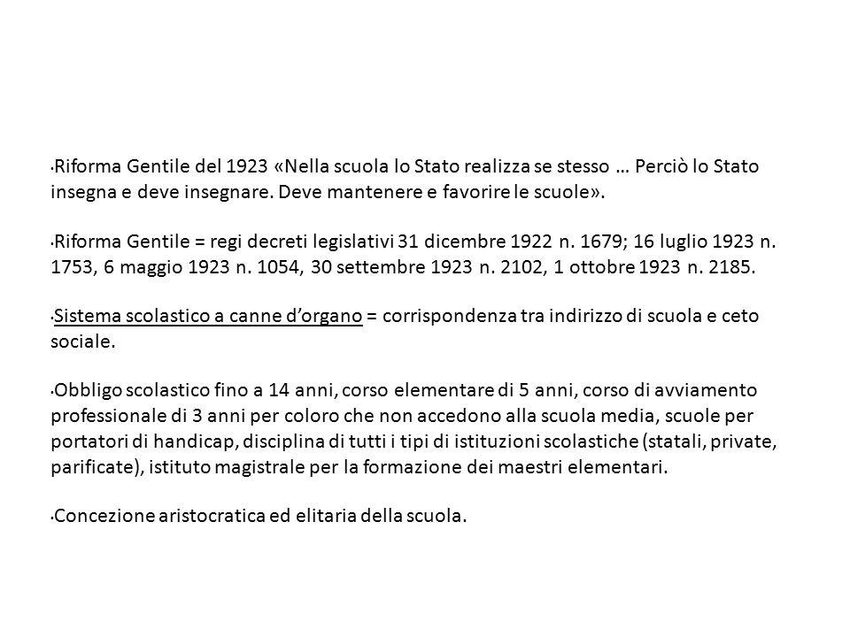 Riforma Gentile del 1923 «Nella scuola lo Stato realizza se stesso … Perciò lo Stato insegna e deve insegnare. Deve mantenere e favorire le scuole». R