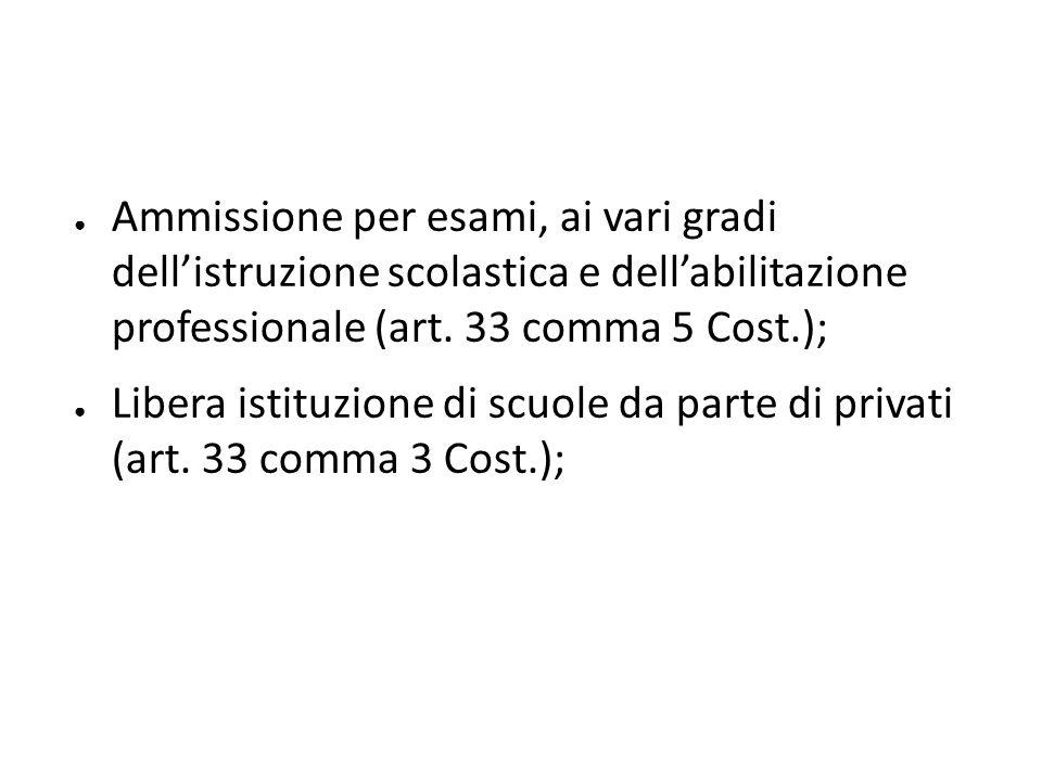 ● Ammissione per esami, ai vari gradi dell'istruzione scolastica e dell'abilitazione professionale (art. 33 comma 5 Cost.); ● Libera istituzione di sc