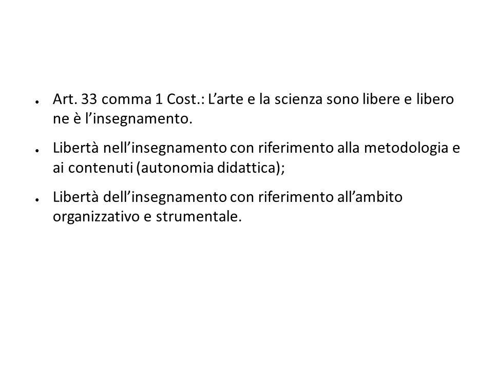 ● Art. 33 comma 1 Cost.: L'arte e la scienza sono libere e libero ne è l'insegnamento. ● Libertà nell'insegnamento con riferimento alla metodologia e