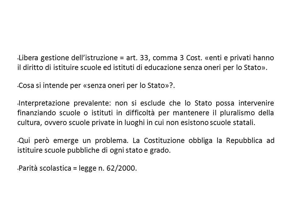 Libera gestione dell'istruzione = art. 33, comma 3 Cost. «enti e privati hanno il diritto di istituire scuole ed istituti di educazione senza oneri pe