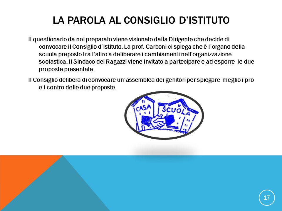 LA PAROLA AL CONSIGLIO D'ISTITUTO Il questionario da noi preparato viene visionato dalla Dirigente che decide di convocare il Consiglio d'Istituto.