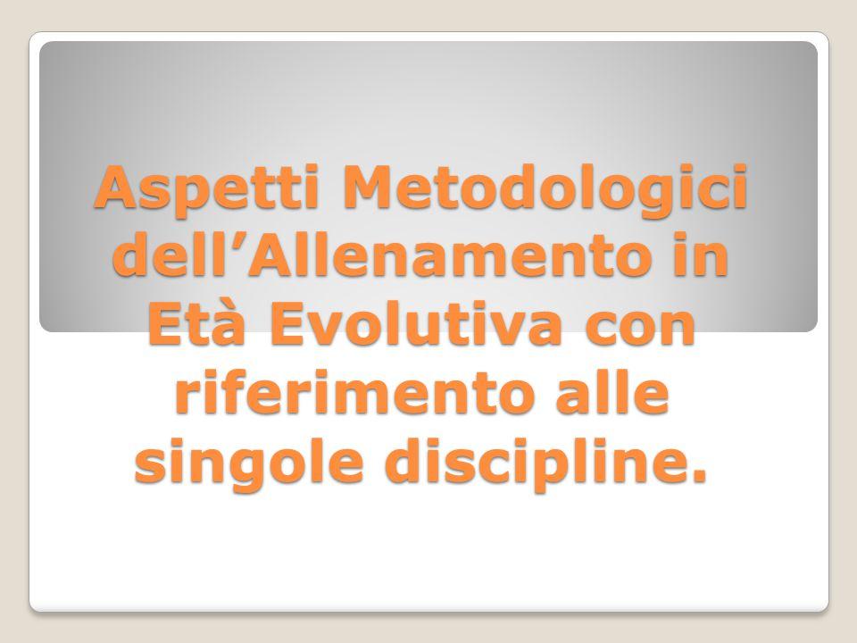 Aspetti Metodologici dell'Allenamento in Età Evolutiva con riferimento alle singole discipline.