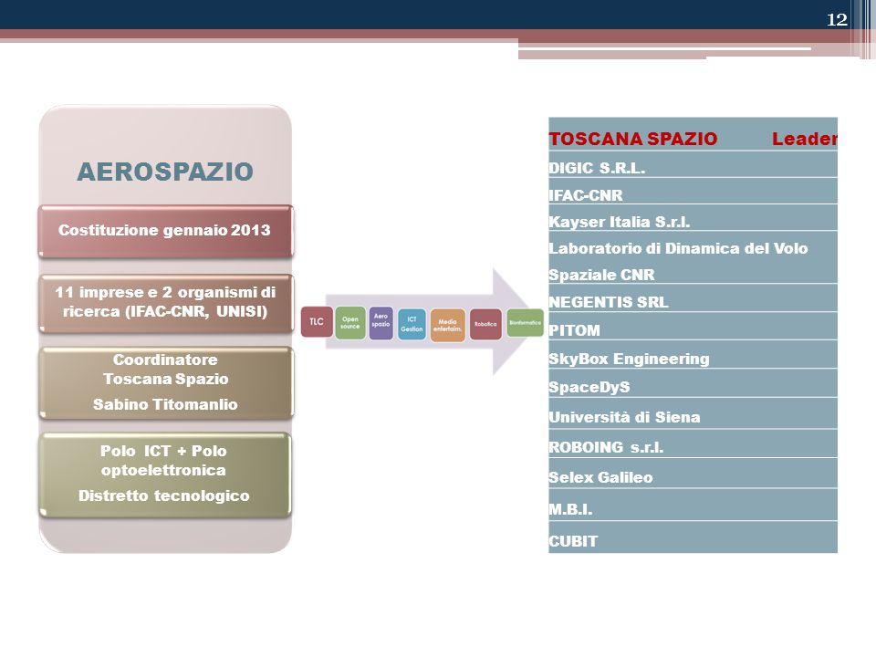 12 AEROSPAZIO Costituzione gennaio 2013 11 imprese e 2 organismi di ricerca (IFAC-CNR, UNISI) Coordinatore Toscana Spazio Sabino Titomanlio Polo ICT + Polo optoelettronica Distretto tecnologico TOSCANA SPAZIO Leader DIGIC S.R.L.