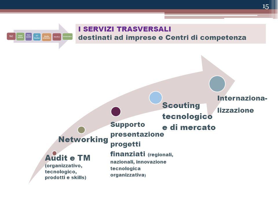 15 I SERVIZI TRASVERSALI destinati ad imprese e Centri di competenza Audit e TM (organizzativo, tecnologico, prodotti e skills) Networking Supporto pr