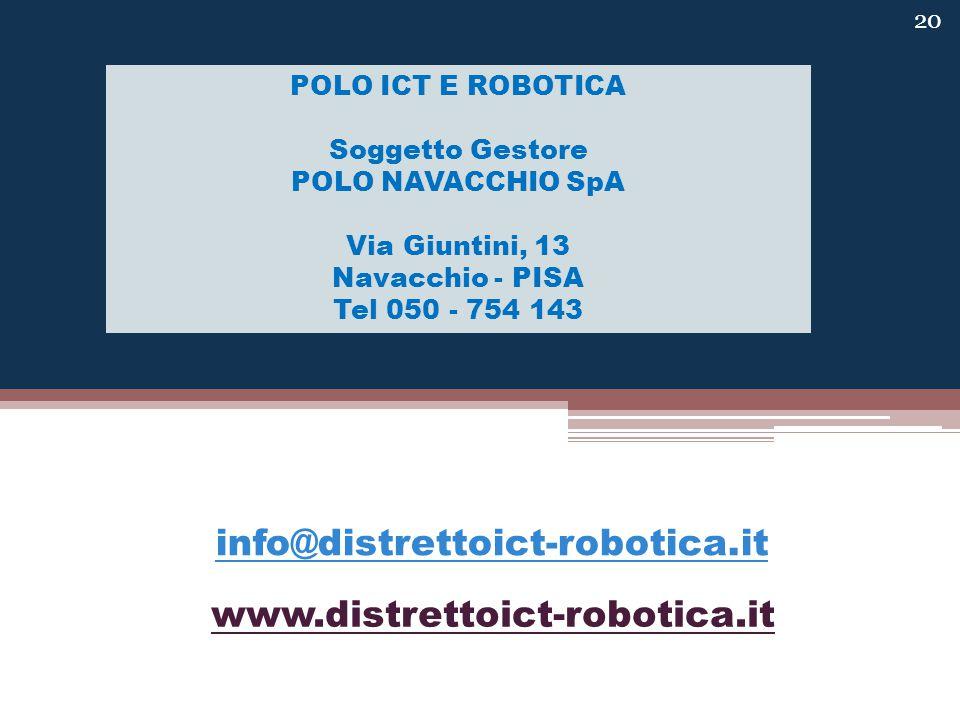 www.distrettoict-robotica.it POLO ICT E ROBOTICA Soggetto Gestore POLO NAVACCHIO SpA Via Giuntini, 13 Navacchio - PISA Tel 050 - 754 143 info@distrettoict-robotica.it 20