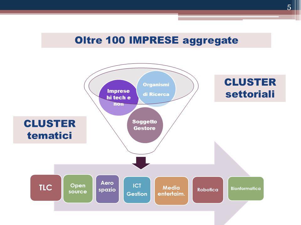 Oltre 100 IMPRESE aggregate Soggetto Gestore Imprese hi tech e non Organismi di Ricerca CLUSTER tematici CLUSTER settoriali 5