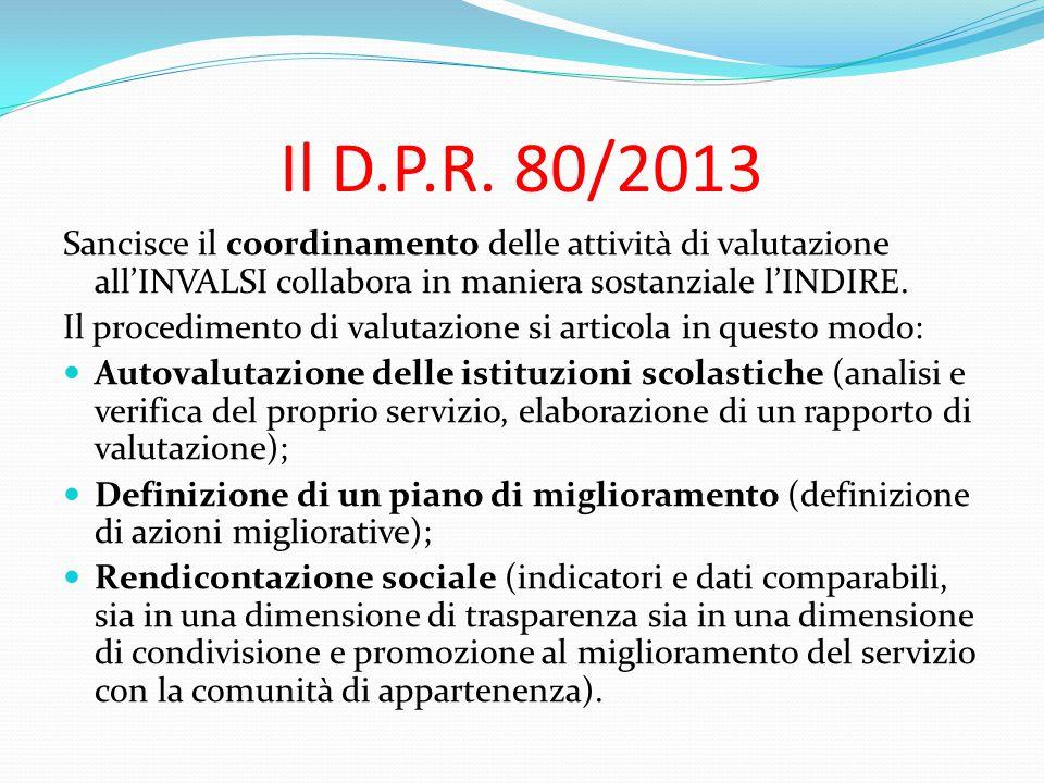 Il D.P.R. 80/2013 Sancisce il coordinamento delle attività di valutazione all'INVALSI collabora in maniera sostanziale l'INDIRE. Il procedimento di va