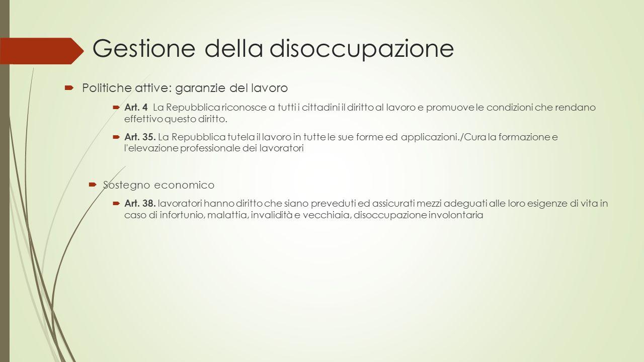 Gestione della disoccupazione  Politiche attive: garanzie del lavoro  Art. 4 La Repubblica riconosce a tutti i cittadini il diritto al lavoro e prom