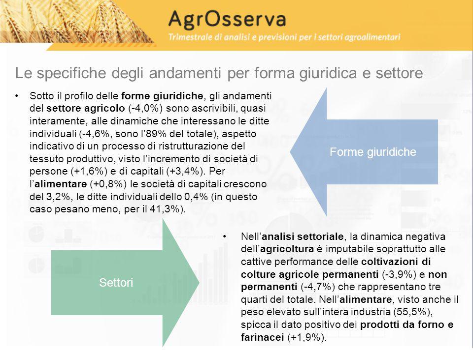 Le specifiche degli andamenti per forma giuridica e settore Sotto il profilo delle forme giuridiche, gli andamenti del settore agricolo (-4,0%) sono ascrivibili, quasi interamente, alle dinamiche che interessano le ditte individuali (-4,6%, sono l'89% del totale), aspetto indicativo di un processo di ristrutturazione del tessuto produttivo, visto l'incremento di società di persone (+1,6%) e di capitali (+3,4%).