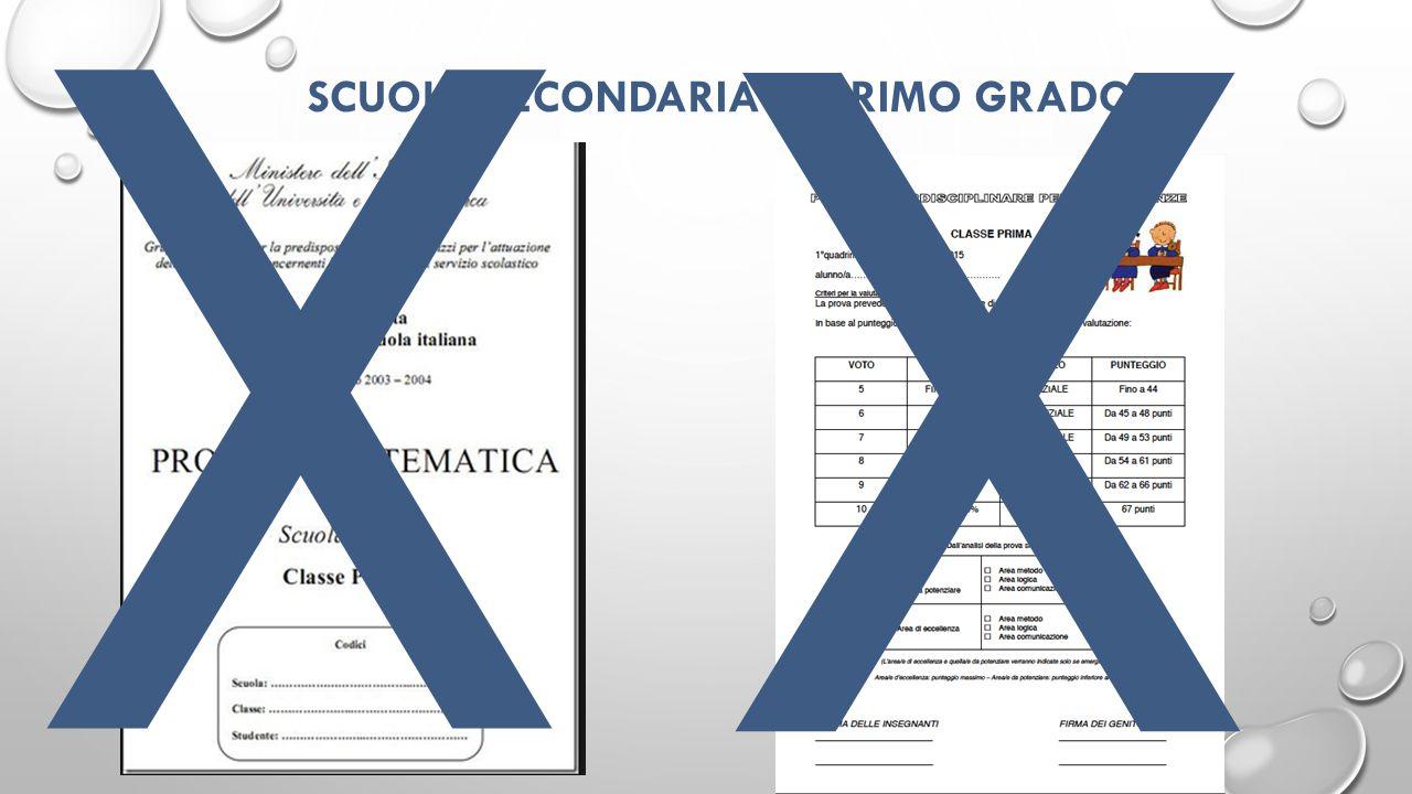 SCUOLA SECONDARIA DI PRIMO GRADO X X