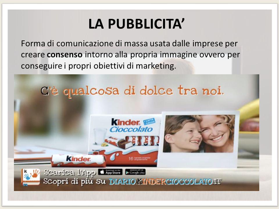 LA PUBBLICITA' Forma di comunicazione di massa usata dalle imprese per creare consenso intorno alla propria immagine ovvero per conseguire i propri ob