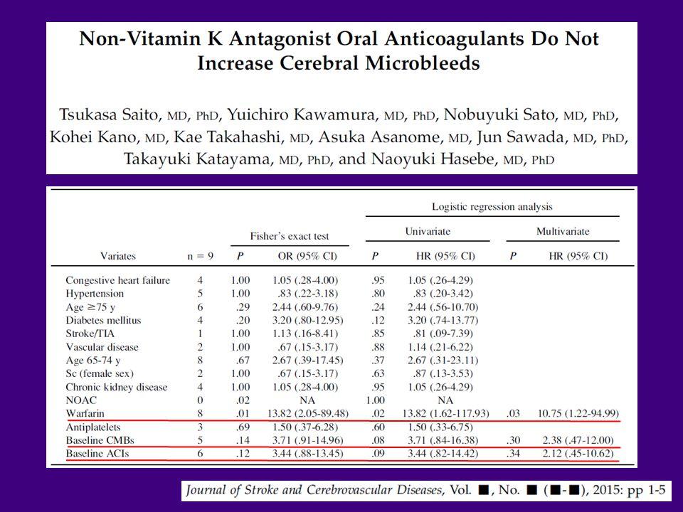 MRI screening for anticoagulation Fisher M. Front Neurol 2013(4);137:1-7
