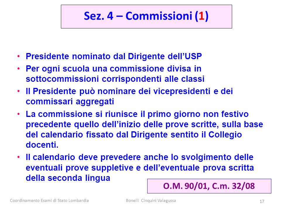 Coordinamento Esami di Stato LombardiaBonelli Cinquini Valagussa 17 Presidente nominato dal Dirigente dell'USP Per ogni scuola una commissione divisa