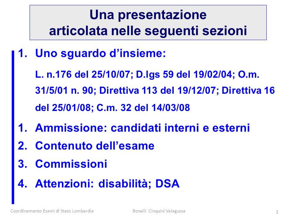Coordinamento Esami di Stato LombardiaBonelli Cinquini Valagussa 2 1.Uno sguardo d'insieme: L. n.176 del 25/10/07; D.lgs 59 del 19/02/04; O.m. 31/5/01