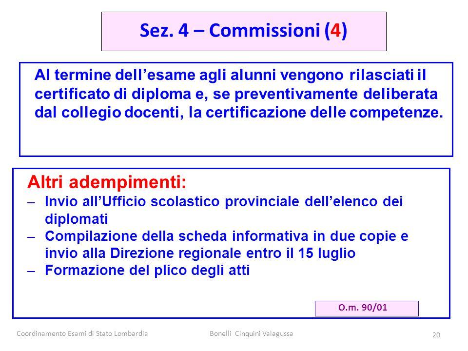 Coordinamento Esami di Stato LombardiaBonelli Cinquini Valagussa 20 Al termine dell'esame agli alunni vengono rilasciati il certificato di diploma e,