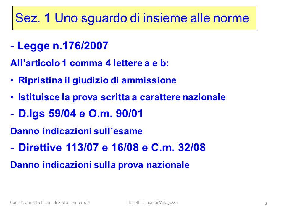 Coordinamento Esami di Stato LombardiaBonelli Cinquini Valagussa 3 Sez. 1 Uno sguardo di insieme alle norme - Legge n.176/2007 All'articolo 1 comma 4