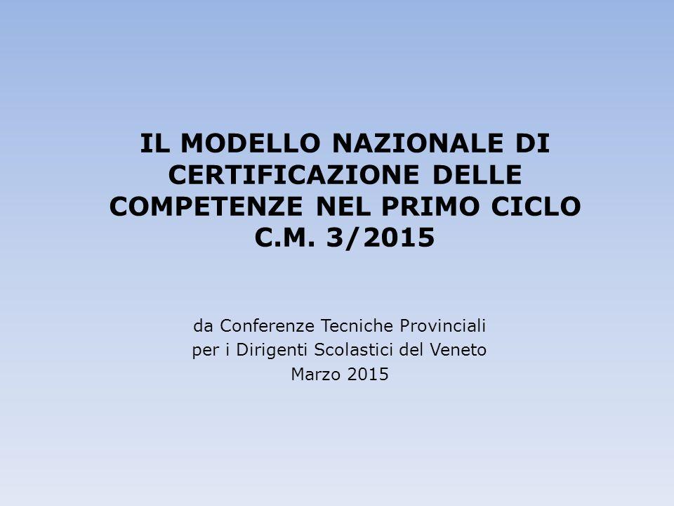 IL MODELLO NAZIONALE DI CERTIFICAZIONE DELLE COMPETENZE NEL PRIMO CICLO C.M. 3/2015 da Conferenze Tecniche Provinciali per i Dirigenti Scolastici del