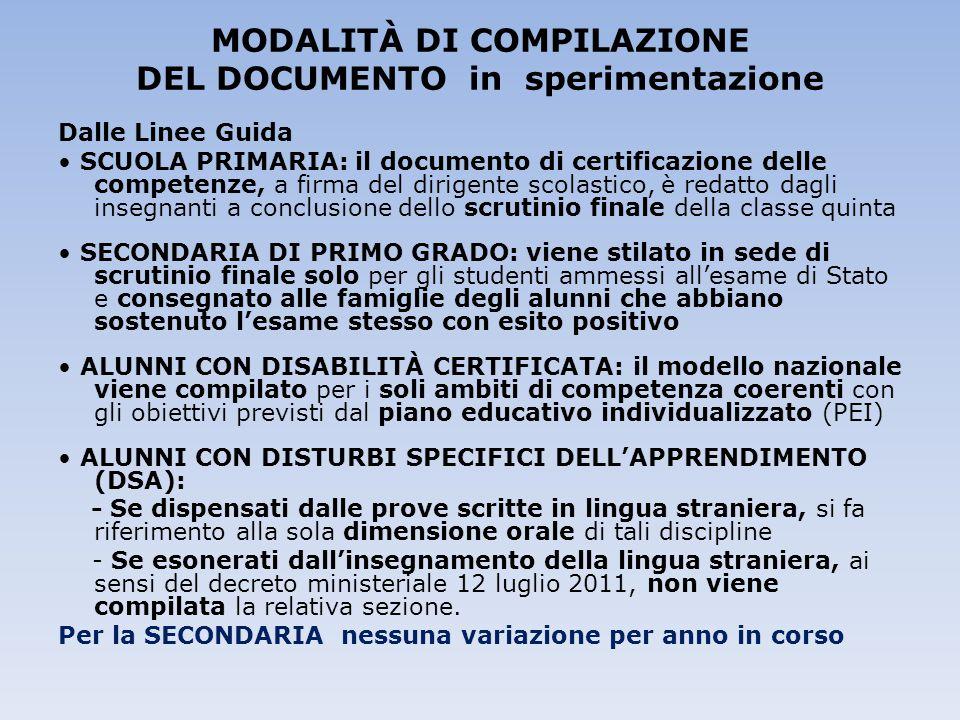 MODALITÀ DI COMPILAZIONE DEL DOCUMENTO in sperimentazione Dalle Linee Guida SCUOLA PRIMARIA: il documento di certificazione delle competenze, a firma