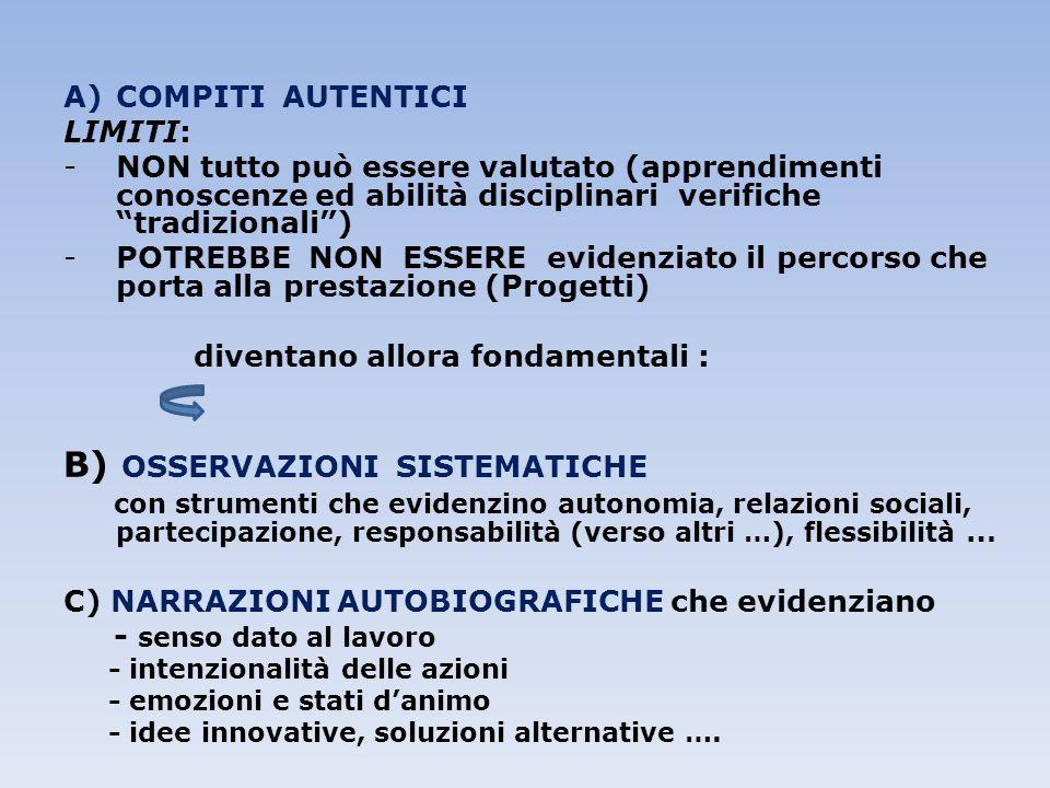 """A)COMPITI AUTENTICI LIMITI: -NON tutto può essere valutato (apprendimenti conoscenze ed abilità disciplinari verifiche """"tradizionali"""") -POTREBBE NON E"""
