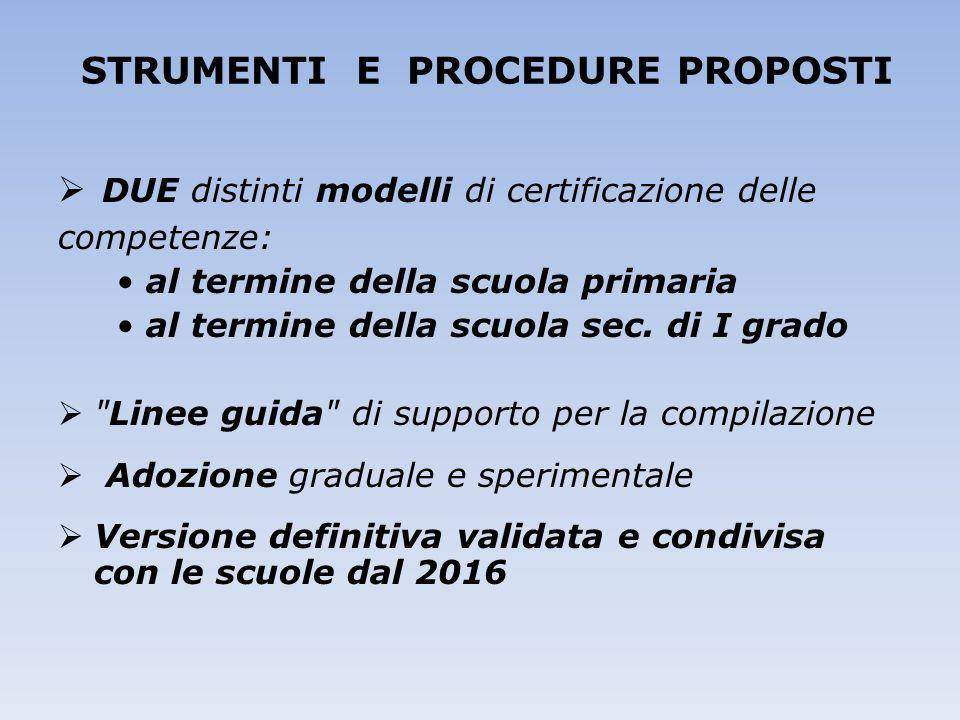 STRUMENTI E PROCEDURE PROPOSTI  DUE distinti modelli di certificazione delle competenze: al termine della scuola primaria al termine della scuola sec
