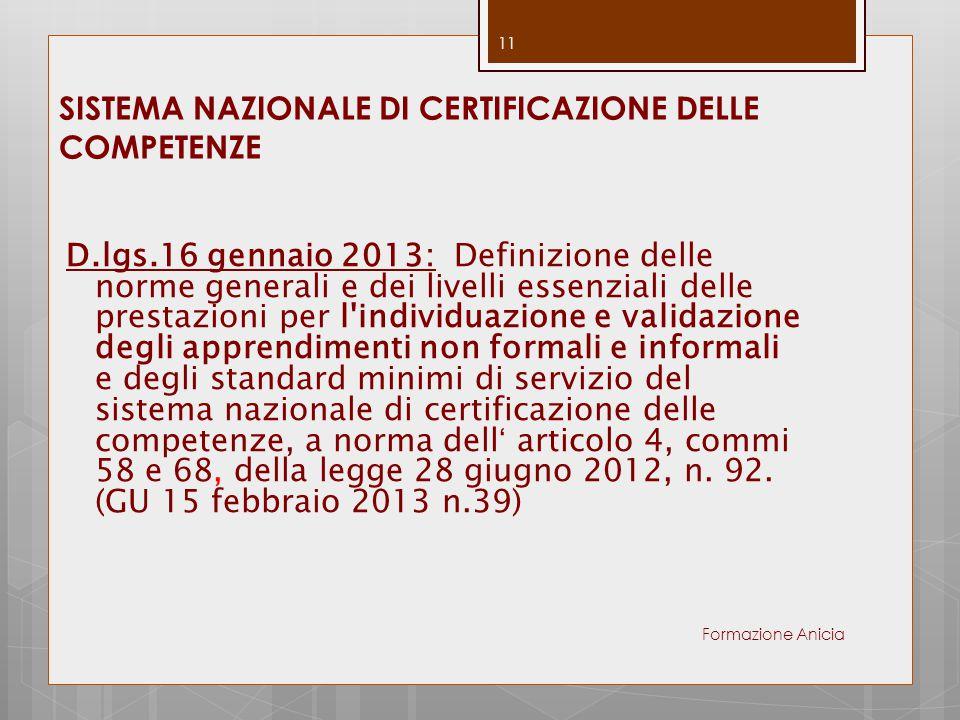 SISTEMA NAZIONALE DI CERTIFICAZIONE DELLE COMPETENZE D.lgs.16 gennaio 2013: Definizione delle norme generali e dei livelli essenziali delle prestazion