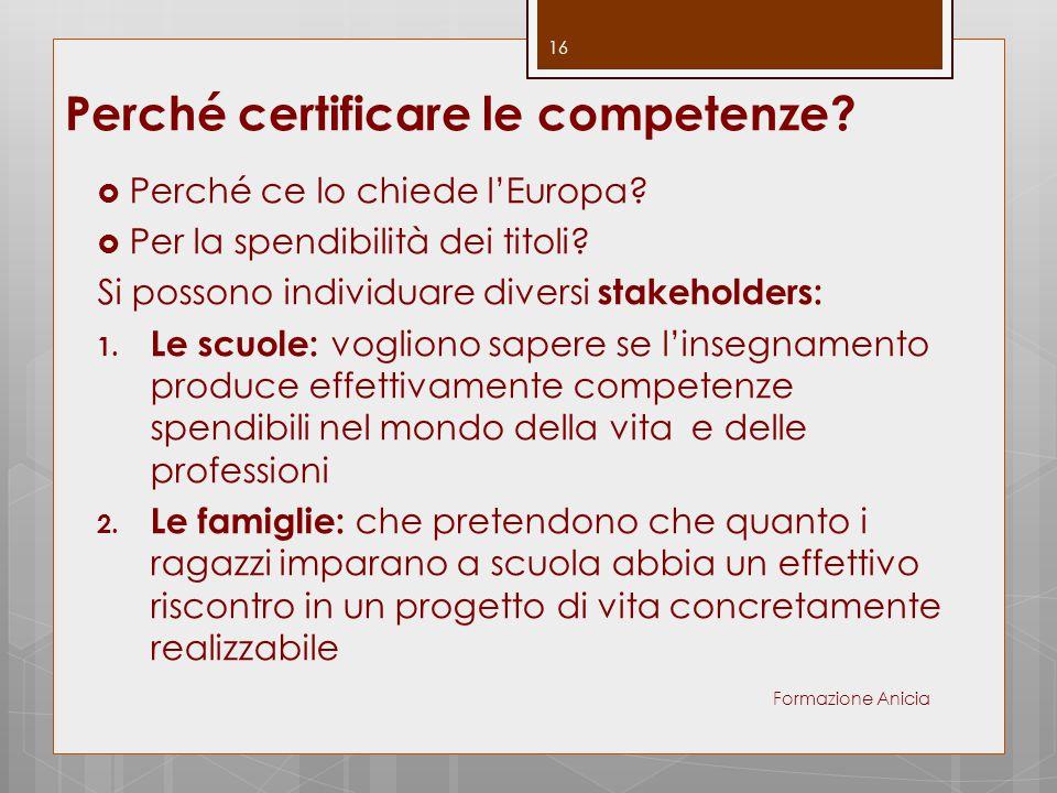 Perché certificare le competenze?  Perché ce lo chiede l'Europa?  Per la spendibilità dei titoli? Si possono individuare diversi stakeholders: 1. Le