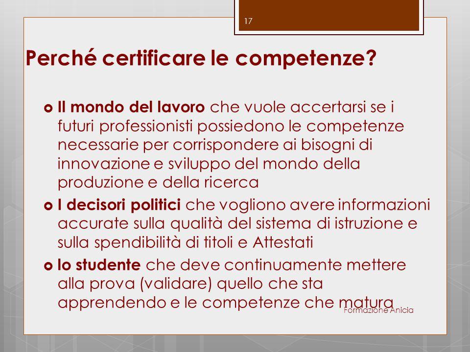 Perché certificare le competenze?  Il mondo del lavoro che vuole accertarsi se i futuri professionisti possiedono le competenze necessarie per corris