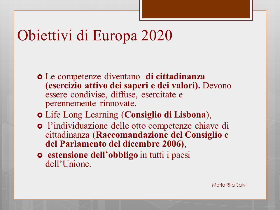 Obiettivi di Europa 2020  Le competenze diventano di cittadinanza (esercizio attivo dei saperi e dei valori). Devono essere condivise, diffuse, eserc