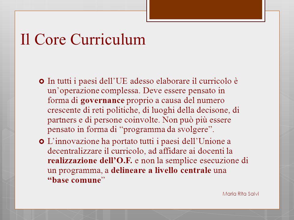 Il Core Curriculum  In tutti i paesi dell'UE adesso elaborare il curricolo è un'operazione complessa. Deve essere pensato in forma di governance prop