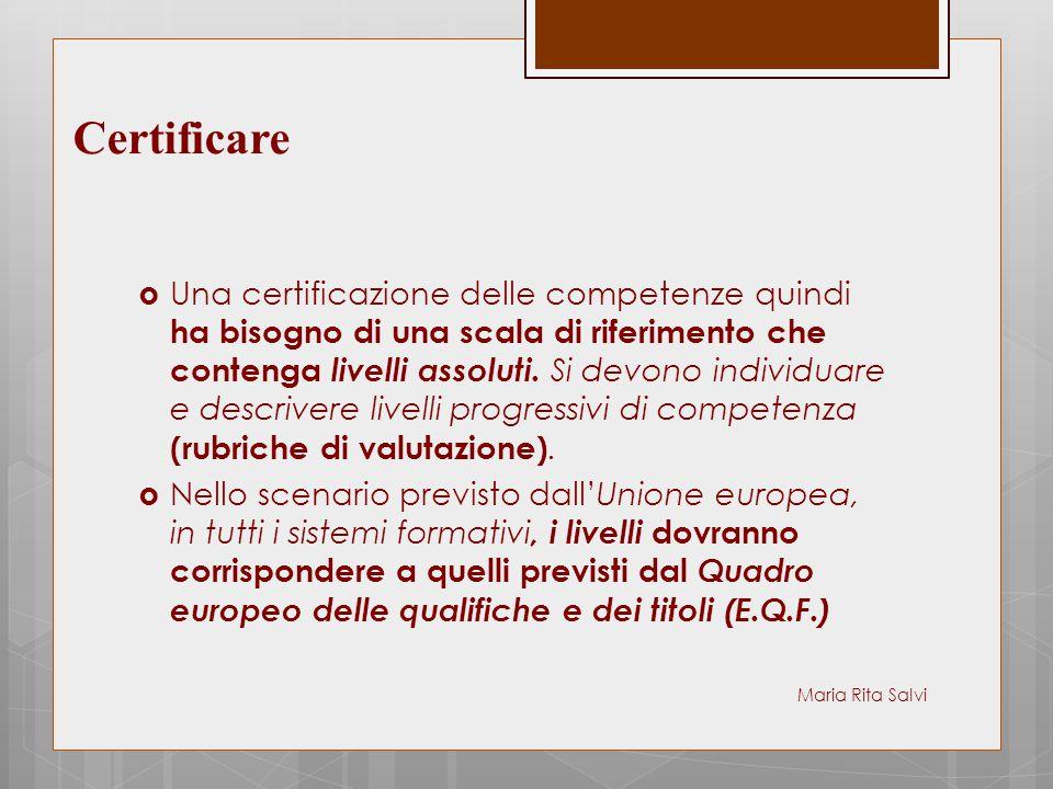  Una certificazione delle competenze quindi ha bisogno di una scala di riferimento che contenga livelli assoluti. Si devono individuare e descrivere