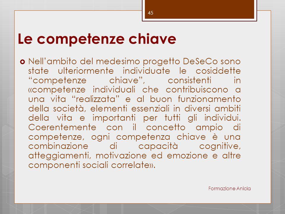 """Le competenze chiave  Nell'ambito del medesimo progetto DeSeCo sono state ulteriormente individuate le cosiddette """"competenze chiave"""", consistenti in"""