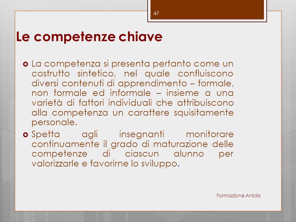 Le competenze chiave  La competenza si presenta pertanto come un costrutto sintetico, nel quale confluiscono diversi contenuti di apprendimento – for