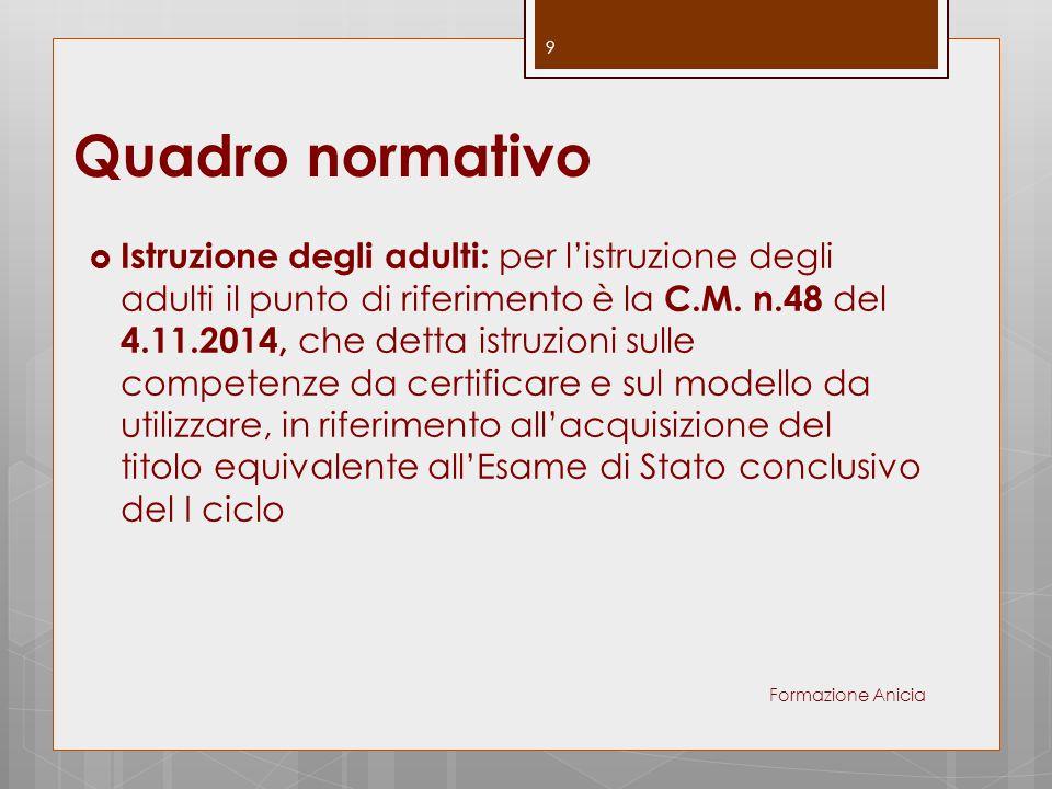 Quadro normativo  Istruzione degli adulti: per l'istruzione degli adulti il punto di riferimento è la C.M. n.48 del 4.11.2014, che detta istruzioni s