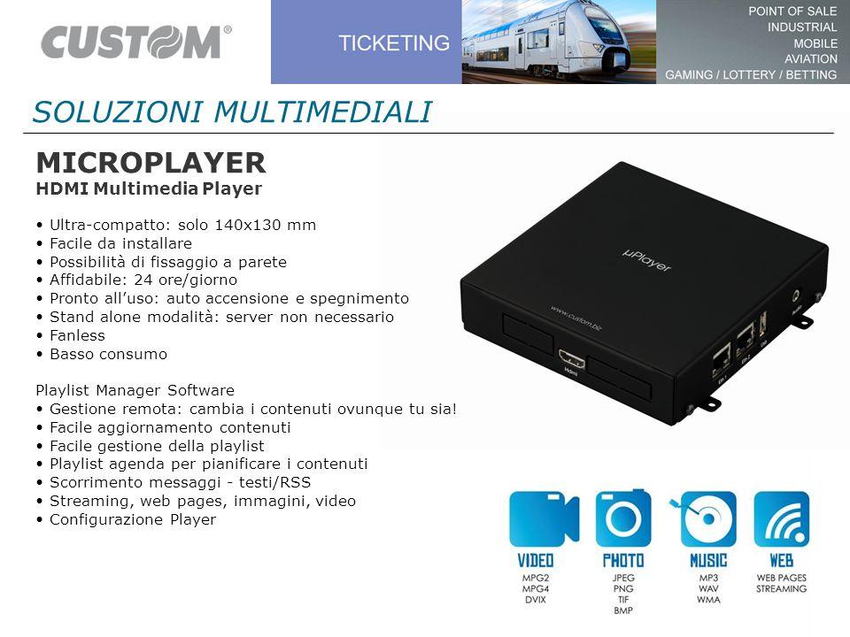 MICROPLAYER HDMI Multimedia Player Ultra-compatto: solo 140x130 mm Facile da installare Possibilità di fissaggio a parete Affidabile: 24 ore/giorno Pr