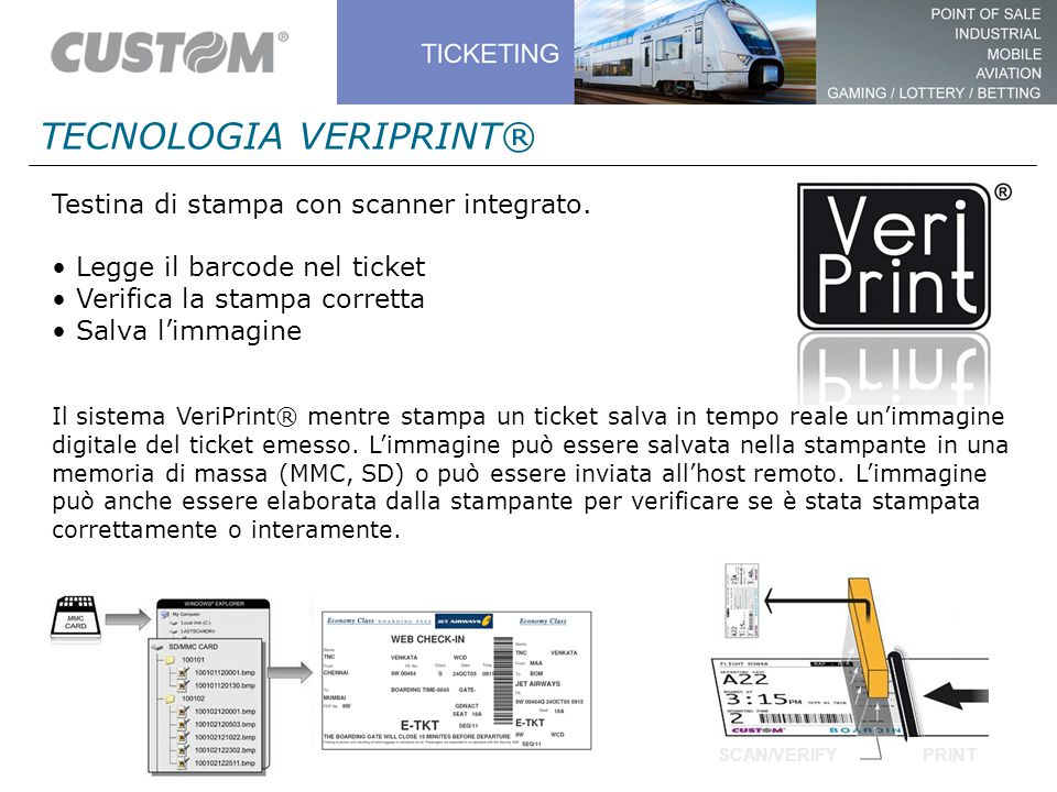 TECNOLOGIA VERIPRINT® Testina di stampa con scanner integrato. Legge il barcode nel ticket Verifica la stampa corretta Salva l'immagine Il sistema Ver