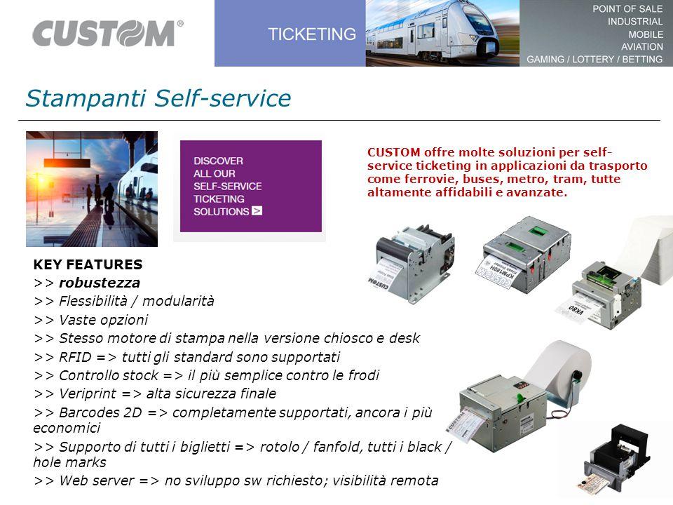 Stampanti Self-service CUSTOM offre molte soluzioni per self- service ticketing in applicazioni da trasporto come ferrovie, buses, metro, tram, tutte altamente affidabili e avanzate.