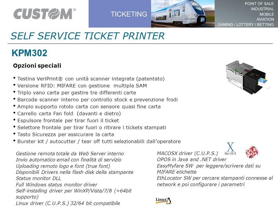 KPM302 Opzioni speciali Testina VeriPrint® con unità scanner integrata (patentato) Versione RFID: MIFARE con gestione multipla SAM Triplo vano carta p