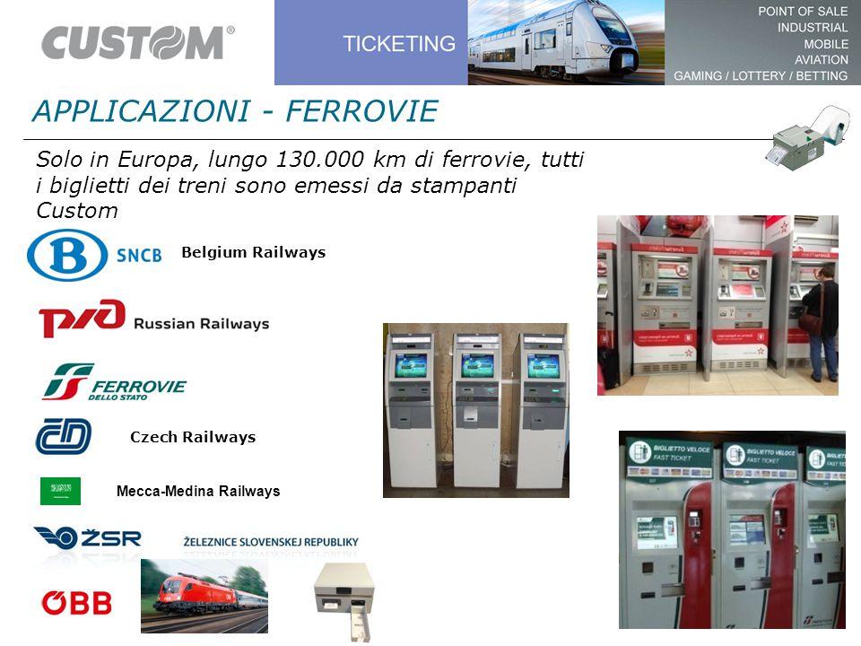 Solo in Europa, lungo 130.000 km di ferrovie, tutti i biglietti dei treni sono emessi da stampanti Custom Czech Railways Belgium Railways APPLICAZIONI