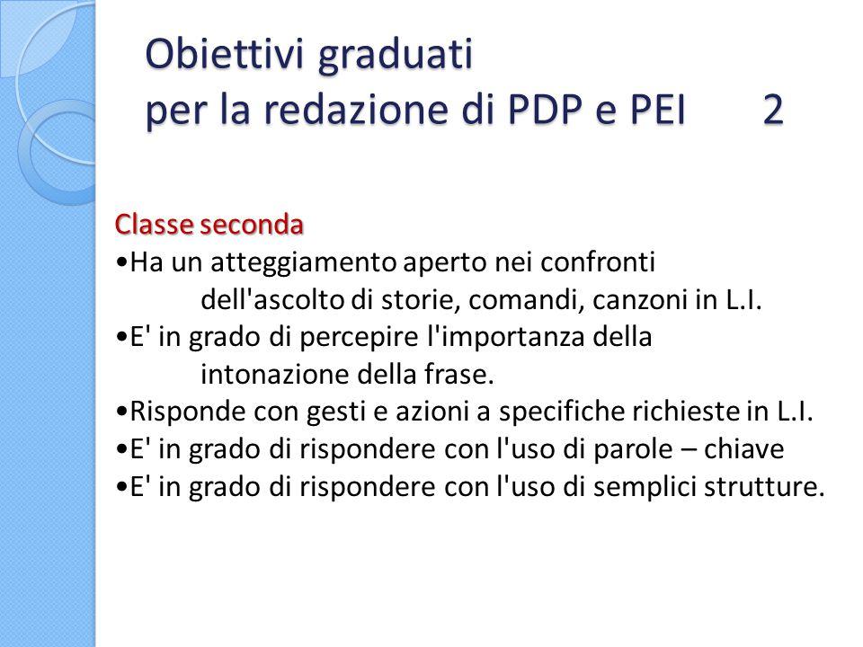 Obiettivi graduati per la redazione di PDP e PEI 2 Classe seconda Ha un atteggiamento aperto nei confronti dell'ascolto di storie, comandi, canzoni in