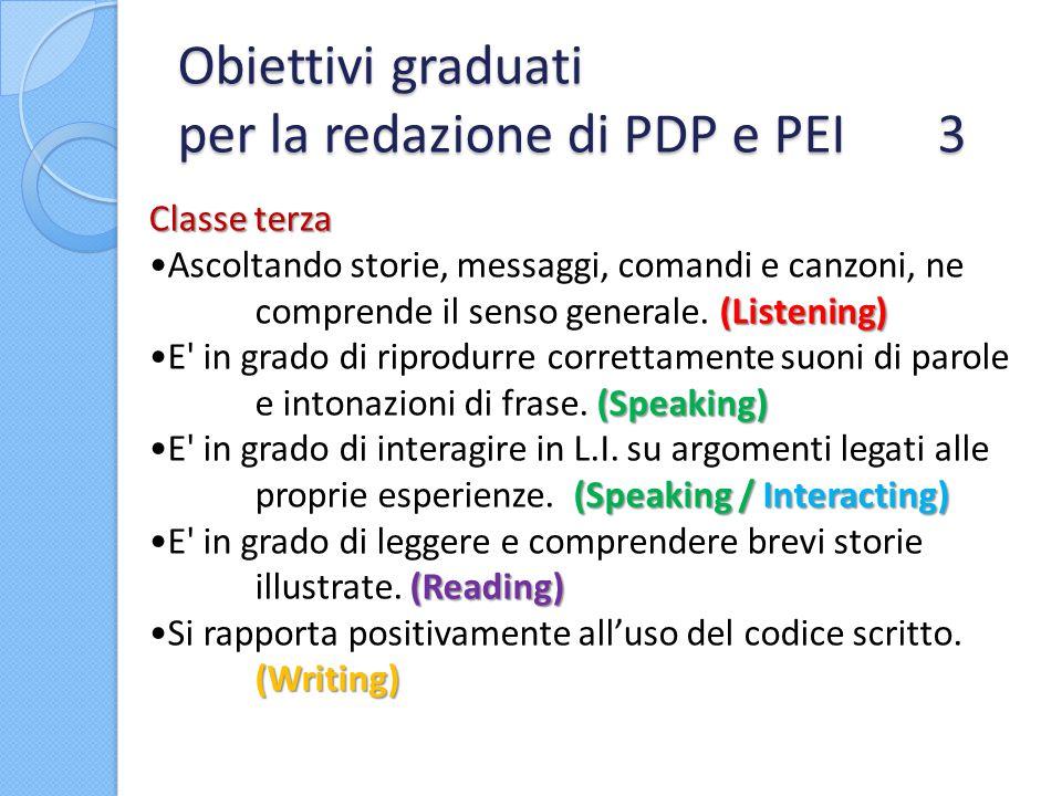 Obiettivi graduati per la redazione di PDP e PEI 3 Classe terza (Listening)Ascoltando storie, messaggi, comandi e canzoni, ne comprende il senso gener