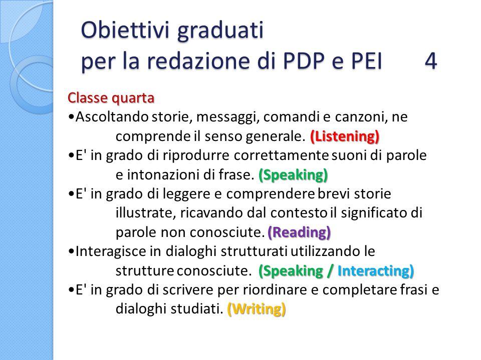 Obiettivi graduati per la redazione di PDP e PEI 4 Classe quarta (Listening)Ascoltando storie, messaggi, comandi e canzoni, ne comprende il senso gene