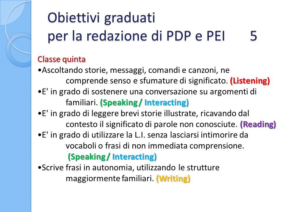 Obiettivi graduati per la redazione di PDP e PEI 5 Classe quinta (Listening)Ascoltando storie, messaggi, comandi e canzoni, ne comprende senso e sfuma