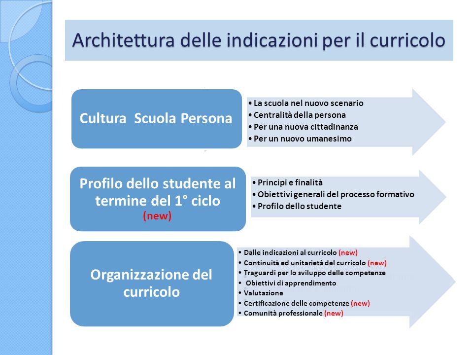 Architettura delle indicazioni per il curricolo La scuola nel nuovo scenario Centralità della persona Per una nuova cittadinanza Per un nuovo umanesim