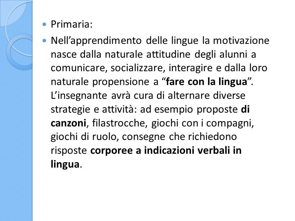 Primaria: Nell'apprendimento delle lingue la motivazione nasce dalla naturale attitudine degli alunni a comunicare, socializzare, interagire e dalla l